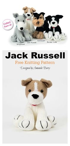 knitting patterns toys Use this Jack Russell Dog Amigurumi Free Knitting Pattern to knit your very own Jack Russell. Any kid or dog lover will fall hard for this little pup. Knitting Patterns Free Dog, Crochet Dog Patterns, Free Knitting, Baby Knitting, Crochet Toys, Perros Jack Russell, Chien Jack Russel, Jack Russell Dogs, Amigurumi Animals