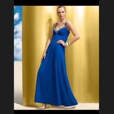 Royal blue Maxi Dress TOTAL EYE CATCHER! Royal blue maxi dress with silver studded detail around neckline. Spaghetti Straps. Floor length! Worn once! Perfect amount of bling, no need for a necklace with this one! Classic and timeless! A true staple piece! INC International Concepts Dresses Maxi