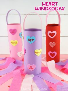 Celebrate Valentine's Day by making this cute and easy heart windsock craft. Simple Valentine heart craft for toddlers, preschoolers and kids of all ages. Preschool Valentine Crafts, Valentine Activities, Classroom Crafts, Classroom Activities, Valentine Theme, Valentines For Kids, Valentine Ideas, Valentine Heart, Valentine's Day Crafts For Kids