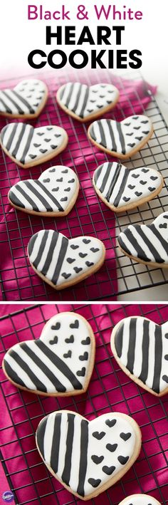 Black and white can make a strong impression, and these Black and White Heart Cookies are no exception. Featuring fashionable stripes and hearts, these decorated roll-out cookies make great treats for Valentine's Day or edible party favors for a wedding celebration.
