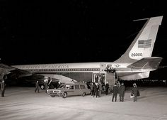 Air Force One 26000 returns JFK's body back to Washington, DC, from Dallas, on November 22, 2963.