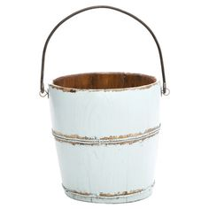 Handmade wood and iron bucket in distressed aqua.   Product: BucketConstruction Material: Wood and ironC...