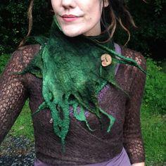 La «Mélodique Moss» elfique Gaia Woodland écharpe feutrée, mère Nature, nymphe des bois Faery Cowl, Larp, Fantasy Realm Faerie mode