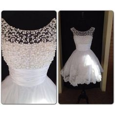 Short White Pearl Bead Lace Prom Dress Straps Knee-length Graduation Dress Formal Dress Party Dress Homecoming Dress 2014