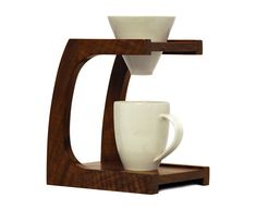 Clive Coffee teamed up with Carthagh Craft & Design for create this beautiful salvaged Oregon walnut drip stand--via Design Crush