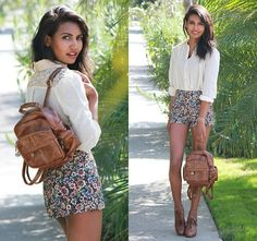 Bag brown shoes wite