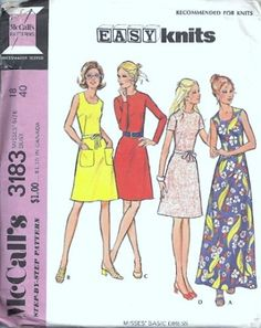 McCalls 3183 Misses Sleeveless Dress 70s Sewing Pattern Size 18 | PatternMania - Supplies on ArtFire