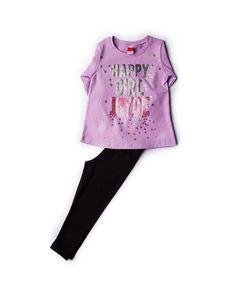 418e55e68567 Σετ Μπλούζα Λιλά & Κολάν Μαύρο Happy Girl 86509 Joyce #παιδικά_ρούχα  #παιδικά_σετ #σετ_για_κορίτσι #μπλούζα #κολάν