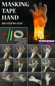 MASKING TAPE HAND WITH GLOW STICK.                                                                                                                                                                                 More