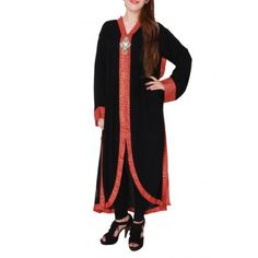 Black Linen Front Open Casual Kurta with Crystal Studs and Brooch on Placket (Size Free Size) - Dunya Trade Hub.Com - D Philosophy - Deepak Perwani