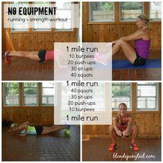 No Equipment Running + Strength Workout