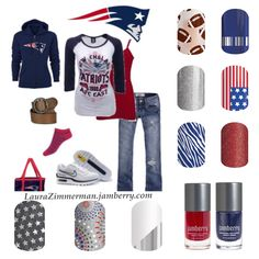 Super cute New England Patriots Jamberry and outfit! Edgy and trendy look to cheer for your NFL team! Find these wraps and more: HTTPS://laurazimmerman.jamberry.com