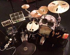 Mark Pusey drum set up for Ed Sheeran. DWdrums, Dauz pads, Roland SPDS, Zildjian cymbals. DdO:) - http://www.pinterest.com/DianaDeeOsborne/drums-drumming-joy/ - DRUMS AND DRUMMING JOY. Octopad predecessor - only 6 pads :) Pin via John Fisher. Original picture from Instagram: @Zildjian Cymbals Company @Mark Van Der Voort