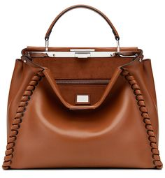"Fendi Cruise 2016 ""Peekaboo"" medium stitch threading satchel in Cognac ."