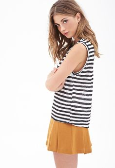FOREVER 21 Striped Muscle Tee // Clary