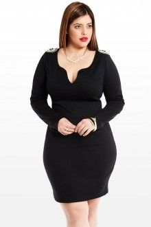 Plus Size Top Notched Beaded Dress
