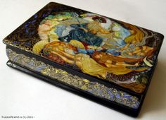 """Sea Tsar"" - box, Palekh lacquer painting technique. Materials: papier-mâché, egg tempera, gold leaf, lacquer  Artists: Chibisova Veronika and Chibisov Roman. $1755.00 http://www.russianfineart.co/catalog/prod.php?productid=20230"