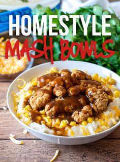 These Homestyle Chicken Mashed Potato Bowls are filled with fluffy mashed potatoes, crispy chicken and topped with a brown gravy! Mashed Potato Bowl Recipe, Chicken Mashed Potatoes, Bacon Ranch Potatoes, Quick Dinner Recipes, Quick Meals, Simple Recipes, Potato Dinner, Beef Gravy, Ground Beef Casserole