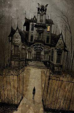 haunted house - The Art Of Damien Worm Casa Halloween, Halloween Haunted Houses, Halloween Pictures, Halloween Horror, Vintage Halloween, Creepy Houses, Spooky House, Arte Horror, Horror Art