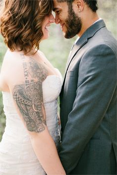 Stunning Wedding Dress Inspiration Vera Wang Gown + Groom's Suit _ a whimsical…