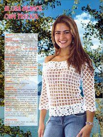 Vida Pink - Meus Crochês: Blusa Branca de Treliça