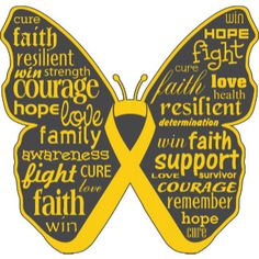Childhood Cancer Butterfly Collage of Words