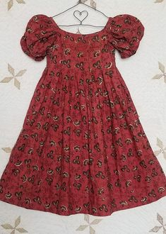 Civil War Era Antique Baby DRESS Most Gorgeous Turkey Red Fabric mislabeled c. 1830 gidget sleeves front laid in pleats to waist waistband in back starting at back pleat with hook and eye Period Costumes, Antique Clothing, Historical Costume, Red Fabric, Baby Dress, Kids Fashion, Vintage Fashion, Rag Dolls, Summer Dresses