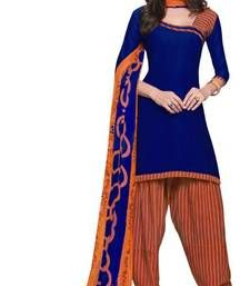 Buy Blue printed Crepe unstitched salwar with dupatta patiala-salwar online