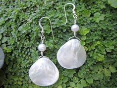 Mother of Pearl Sea Shell Earrings & Pearl by MikeWatsonDesign, $18.00