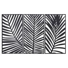 triptyque feuilles de palmiers en mtal noir 144x90