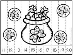 Help students build important math skills with these engaging, fun, holiday puzzles! Just print and use. It's that easy!   This download includes three different themed puzzles…pot of gold, leprechaun and shamrock bear. Each theme includes four different 10 piece puzzles so you can target the skills your students need most. (Numbers to 10, Teen Numbers, Counting by Tens)
