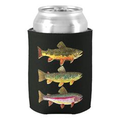 Trout Fishing Can Cooler. Cool Gift Ideas For Men.