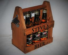 Beer Tote, 6 pack, Handmade Beer Carrier, Personalized and laser engraved Wooden Beer Tote, Six Pack, Engraved Beer Carrier, Beer case