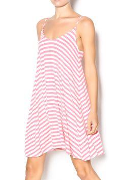 Striped jersey slip dress with adjustable straps and a round neckline. The perfect beach or pool dress. Style with jelly flip flops and a straw hat for a beach readyoutfit. Bristol Swing Dress by Buddy Basics. Clothing - Dresses - Printed Clothing - Dresses - Casual Texas