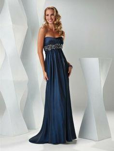 2011 Style Sheath / Column Strapless Rhinestone Sleeveless Floor-length Elastic Woven Satin Dark Navy Prom Dress / Evening Dress
