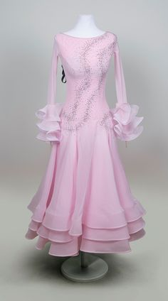 Soft, very light-weighted pink ballroom dress, wonderful skirt and very nice placement of crystals | EM Couture
