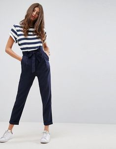 ASOS Linen Paperbag Waist Pants with Tie $40