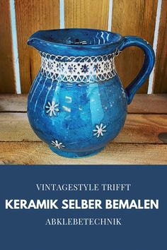 Abklebetechnik trifft VintageStyle Painted Ceramics, Ceramic Painting, Mugs, Tableware, Tablewares, Painted Pottery, Dinnerware, Tumblers, Mug