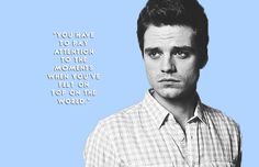 """Barnevans: """" """"sebastian stan + inspirational quotes \ (*◡*) / (x, Avengers Quotes, Marvel Quotes, Qoutes, Funny Quotes, Life Quotes, Sebastian Stan Instagram, Sebastian Stan Tumblr, Sabastian Stan, Marvel Actors"""
