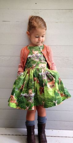 Deer dress, chunky socks and boots. Done. #kids #designer #fashion