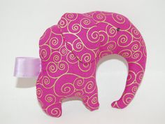 Elephant Plushie Pink and Gold Crinkle ears by StitchesByMotherHen