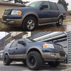 Ford Expedition stock vs 3 inch lift and 35 inch tires Big Trucks, Ford Trucks, Custom Trucks, Custom Cars, Lifted Ford Explorer, Truck Rims And Tires, Generation Years, Explorer Sport, Ford Excursion
