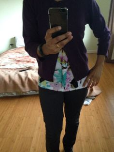 Purple cardi tee and gray pants