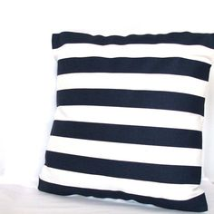 Blue White Pillow Cover 18x18 inch Striped Decorative Cushion Cover Blue White Canopy Stripes $24.00  #FinessePillows