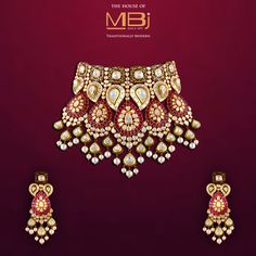 Adorn yourself with the grandeur of a bygone era. #MBjIndia #MBj #Luxury #necklace #earrings #Bridalcollection #traditionaljewellery