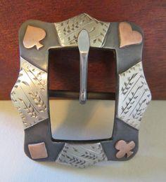 "New Handmade ROBERT EVANS 1"" Card Suit Headstall or Chap Belt Buckle"