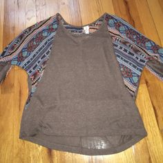 Tribal Doloman Top Marbled brown soft cotton shirt with tribal sleeves and back detailing. Super cool comfy shirt Ransom Tops Tees - Long Sleeve