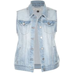 CLASSIC DENIM VEST ($36) ❤ liked on Polyvore featuring outerwear, vests, vest waistcoat, blue denim vest, denim waistcoat, denim vest and blue vest