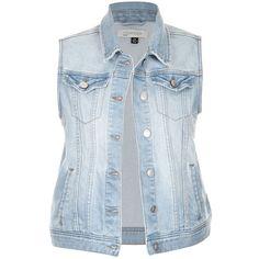 CLASSIC DENIM VEST (50 AUD) ❤ liked on Polyvore featuring outerwear, vests, denim waistcoat, blue denim vest, denim vest, pocket vest and vest waistcoat
