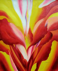 GEORGIA O\'KEEFE REPRO\' FLOWERS OF FIRE OIL PAINTING